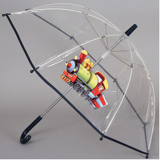 Зонт-трость детский прозрачный ArtRain арт.1511-05 Паровозик