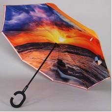 Зонт наоборот Dolphin 218-9802 трость двусторонний с чехлом
