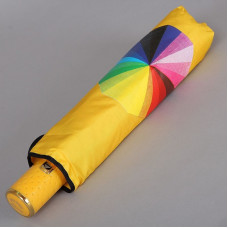 Зонт Dolphin 925-9802 (полный автомат, 9 спиц) Роза на радуге с желтой ручкой