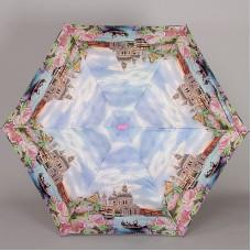 Женский плоский легкий (170гр) зонт Lamberti 73116-1852 Прогулки по Венеции в цветах