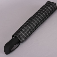 Черный мужской зонт серая клетка большой купол (123 см) Magic Rain 7025-1703