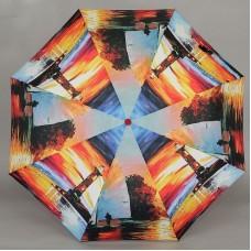 Зонт в три сложения Magic Rain 7251 Маяк на фоне заката
