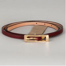 Бордовый ремень Marco Pirelli с золотистой пряжкой