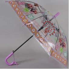 Зонтик детский трость прозрачный с павлинчиками TORM 14807-05