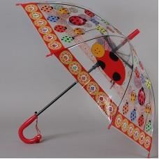 Зонтик детский трость прозрачный с божьими коровками TORM 14807-04