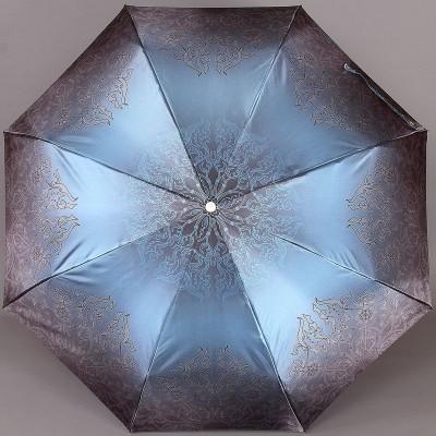 Синий зонт в узорах с золотистым легким (320 гр.) каркасом Trust 32473-1601