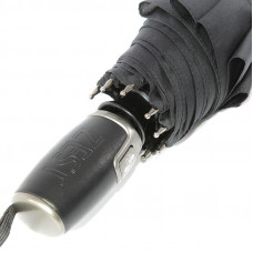 Зонт мужской Zest 13850 Черный с прямой кожаной ручкой