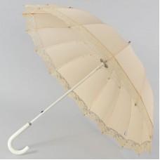 Зонтик трость Zest летний 21572 Персиковый с рюшей