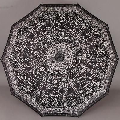 Складной женский зонт с каркасом 10 спиц (увеличенный купол 104 см) ZEST 23966