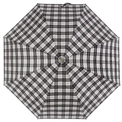 Черно-белый женский зонт в клетку ZEST 53622